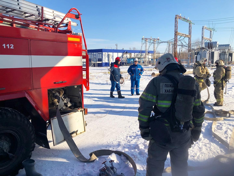 Хабаровские энергетики провели совместную тренировку с пожарными