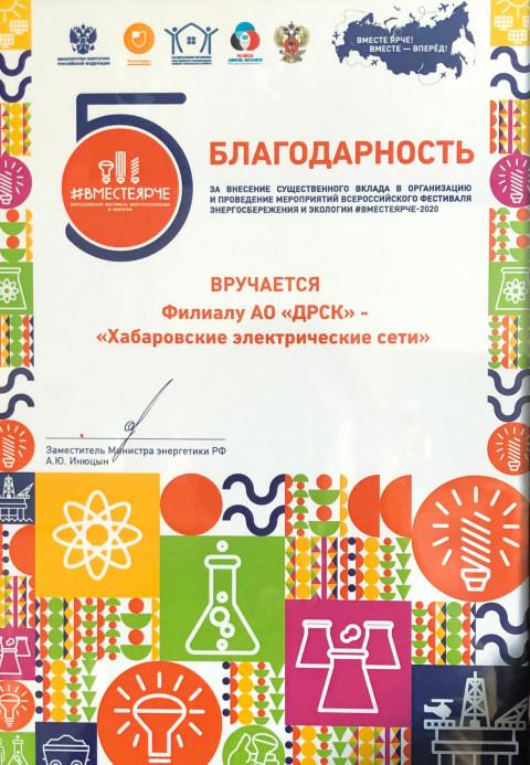 Хабаровские электрические сети получили благодарность от Минэнерго России