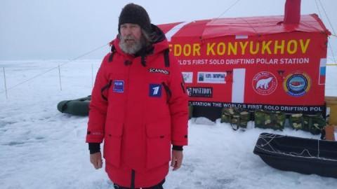 Федор Конюхов ночует на Северном полюсе на дрейфующей льдине