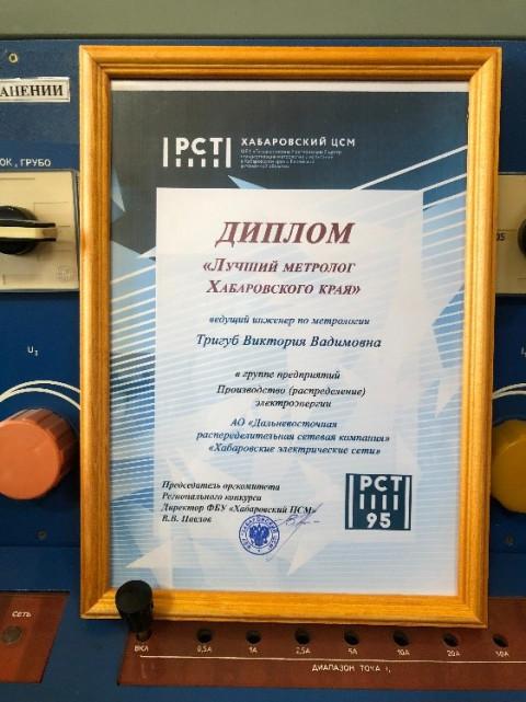 Лучшим метрологом Хабаровского края и ЕАО признан специалист ДРСК из Хабаровска