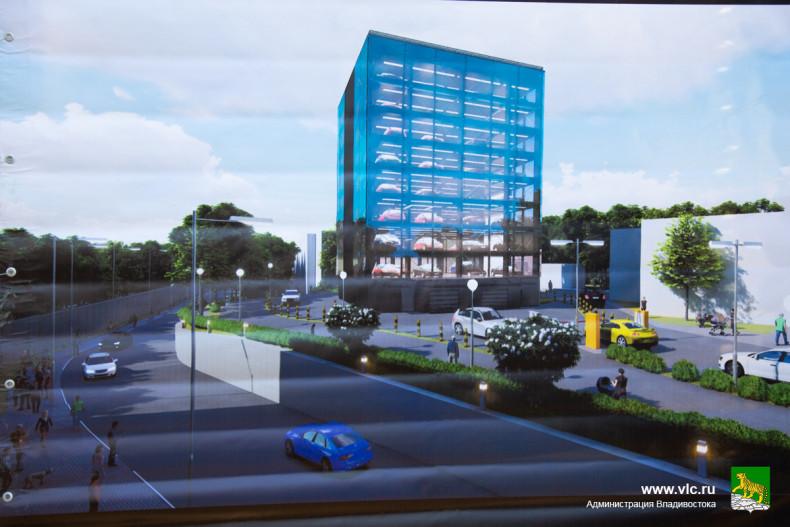 Строительство автоматизированной парковки началось в центреВладивостока